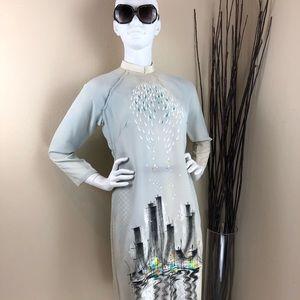 Vintage Cream Firework Cityscape Cheongsam Dress